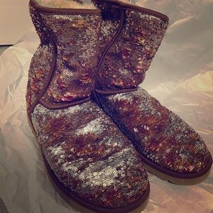 Sequined pink and mauve UGGs